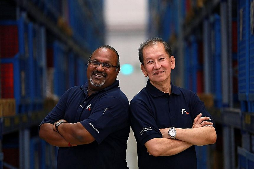 Meet Mr Sundaram Velosamy, 52, and Mr Ong Moh Hong, 68. The two, who work in logistics company Pan Asia Logistics, were singled out as role models for mentoring and lifelong learning by Mr Heng yesterday. SEE TOP OF THE NEWS A6 Meet Mr Sundaram Velos