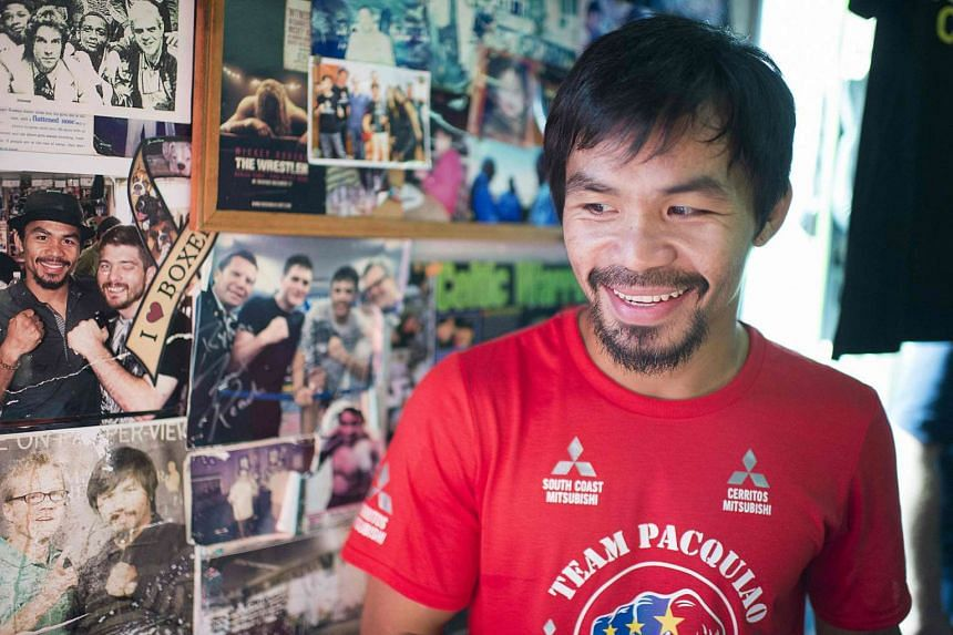 Manny Pacquiao leaves the Wild Card Boxing Club in Hollywood, California after his media workout.