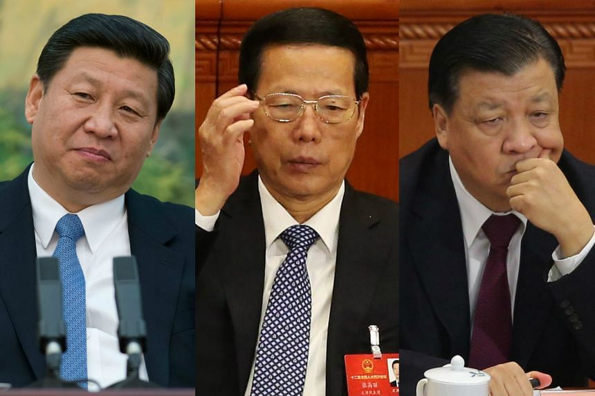 From left: China's President Xi Jinping, Vice Premier Zhang Gaoli and propaganda chief Liu Yunshan, who are part of the seven people in the Chinese Communist Party with relatives linked to the Panama Papers leaks.