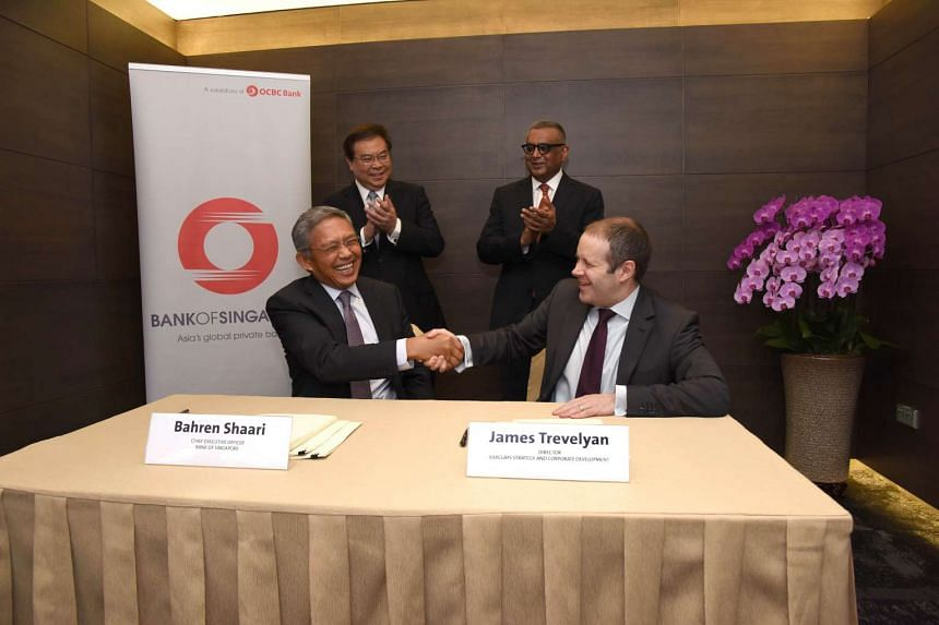 OCBC Bank's private banking subsidiary, Bank of Singapore, marked its acquisition of Barclays wealth and investment management business in Singapore and Hong Kong with a signing ceremony at OCBC Centre.