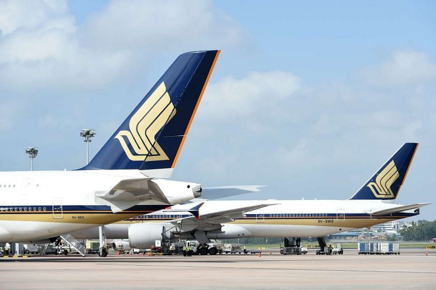Singapore Airlines Airbuses are seen parked at the terminal bridge in Changi airport on March 3, 2016.