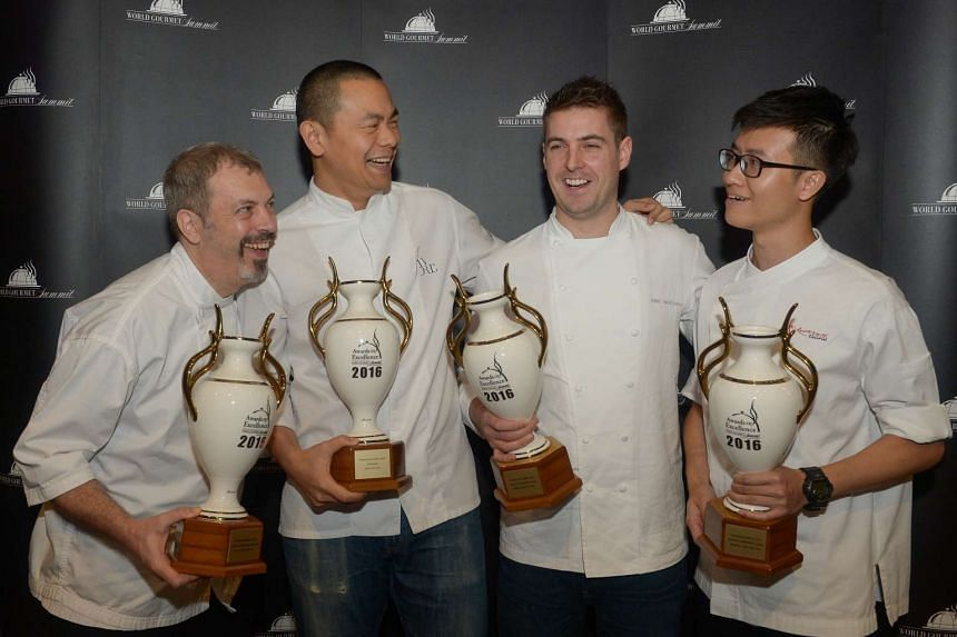 Winners at the World Gourmet Summit include (from far left) Pastry Chef of the Year Frederic Deshayes of Do.Main Bakery, Chef of the Year Andre Chiang of Restaurant Andre, Rising Chef of the Year Kirk Westaway of Jaan, and Apprentice Chef of the Year