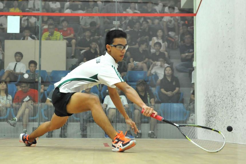 Raffles Institution's Ong Zhengting during the B Division Boys Squash final against Anglo-Chinese School (Independent).