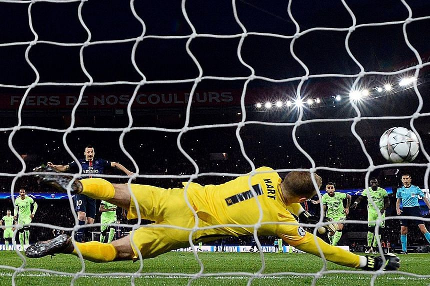 Joe Hart palming away a penalty taken by PSG's Zlatan Ibrahimovic. That 14th-minute save by the Man City 'keeper was big, as it kept the scoreline 0-0.