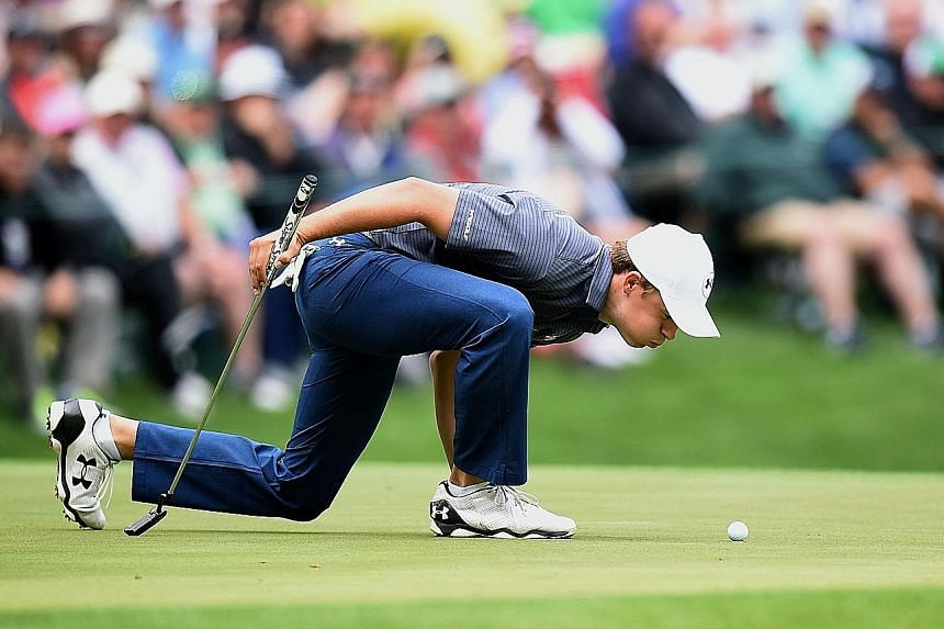 Jordan Spieth checking out his ball position during a practice round at August National on Wednesday.The American was forced into an equipment change, after his Titleist 915D2 driver cracked.