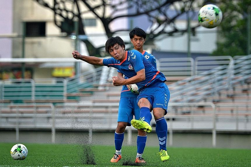 Midfielders Atsushi Kawata (front), 23, and Kento Nagasaki , 25, joined Albirex Niigata at the start of 2015 and 2013 respectively. Most players who come to Singapore accept that they cannot cut it in the J-League but are determined to make a living