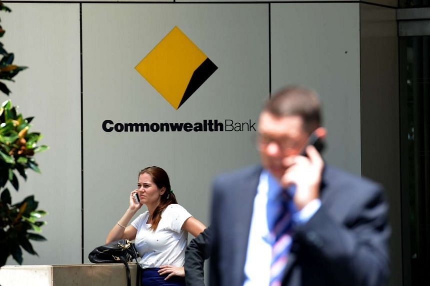 People outside the Commonwealth Bank headquarters in Sydney on Feb 10.