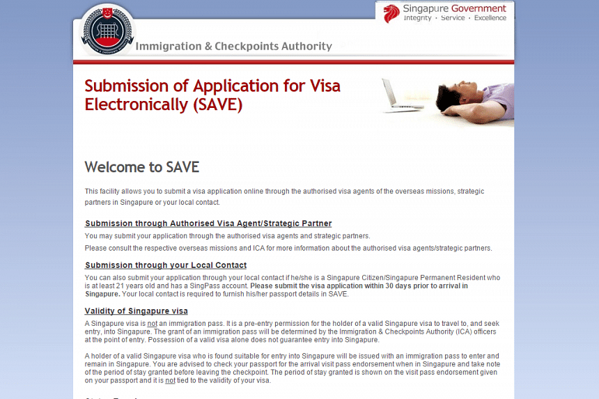 A screenshot of the false website, which claims to allow visitors to submit a visa application online.