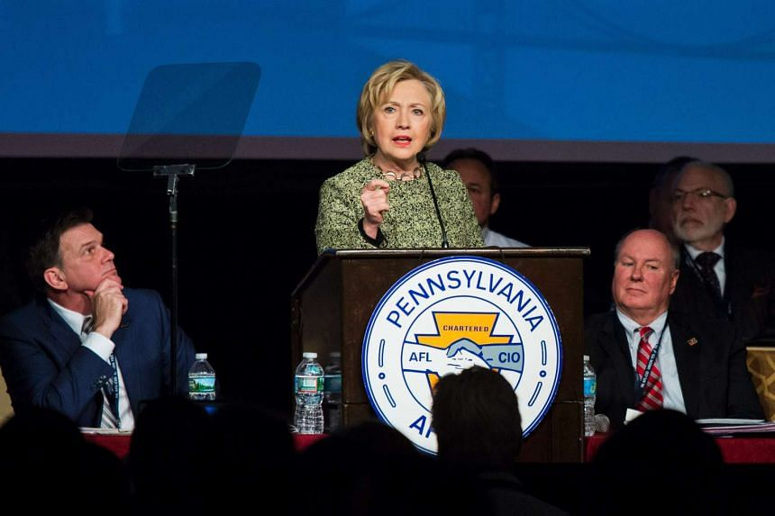 Democratic presidential candidate Hillary Clinton speaking at a labour gathering in Philadelphia on April 6.