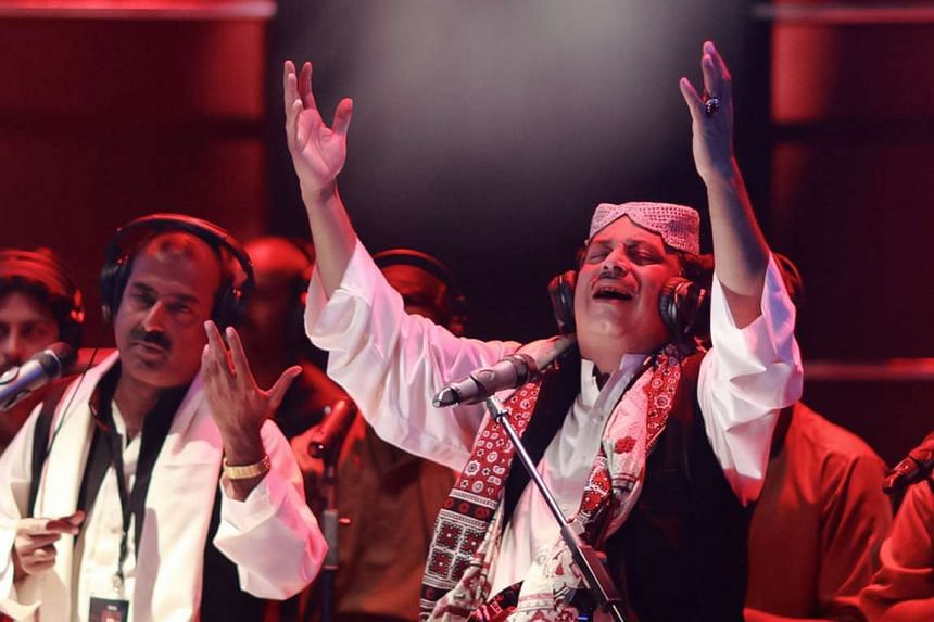 """In the Esplanade Concert Hall on April 15, Fareed Ayaz and ensemble perform qawwali, a Sufi devotional form known as the """"path of the heart""""."""