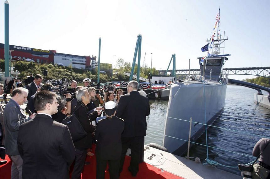 "The autonomous ship ""Sea Hunter"" is shown docked in Portland, Oregon, after its christening ceremony."