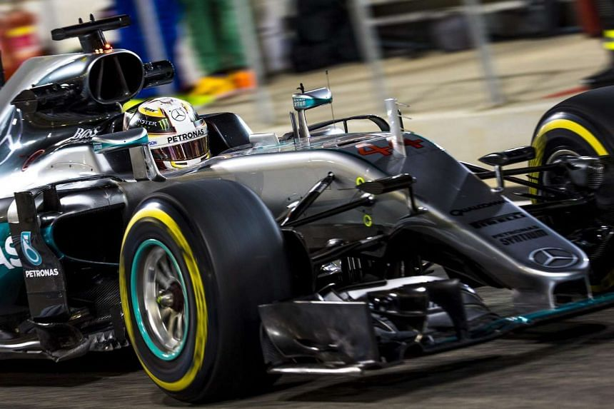Mercedes driver Lewis Hamilton during the second practice session of the Bahrain Formula One Grand Prix on April 1, 2016.