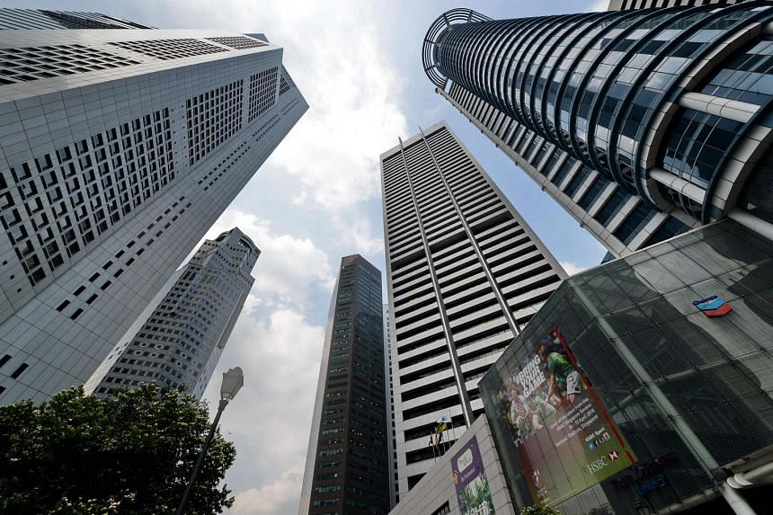 A general view of the Raffles Place financial district in Singapore, on March 31, 2016.