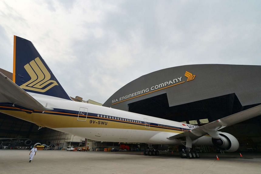 A Singapore Airlines (SIA) Boeing 777-300 is seen parked in the SIA Engineering Company hangar at Changi on Sept 25, 2013.
