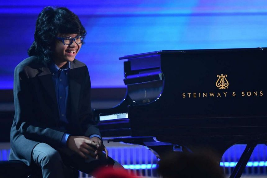 Twelve-year-old pianist Joey Alexander, who played at the Grammys (left) this year, will perform in Singapore on May 24.