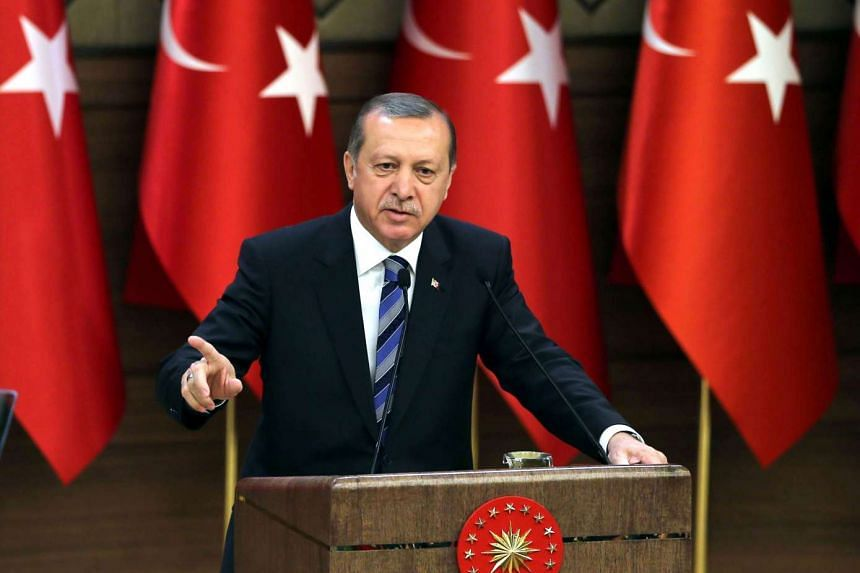 Turkish President Recep Tayyip Erdogan delivering a speech during the  171st anniversary of foundation of the Turkish National Police at the Presidential Complex in Ankara, on April 7, 2016.