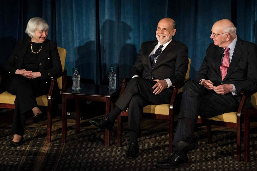 Federal Reserve Chair Janet Yellen (left), former Federal Reserve Chair Ben Bernanke (centre) and former Chair Paul Volcker at a panel discussion at the International House in New York on April 7, 2016.