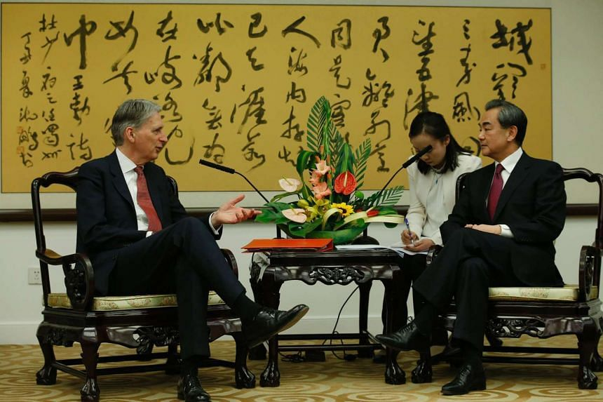 Britain's Foreign Secretary Philip Hammond (left) talks with his Chinese counterpart Wang Yi in Beijing on April 9, 2016.