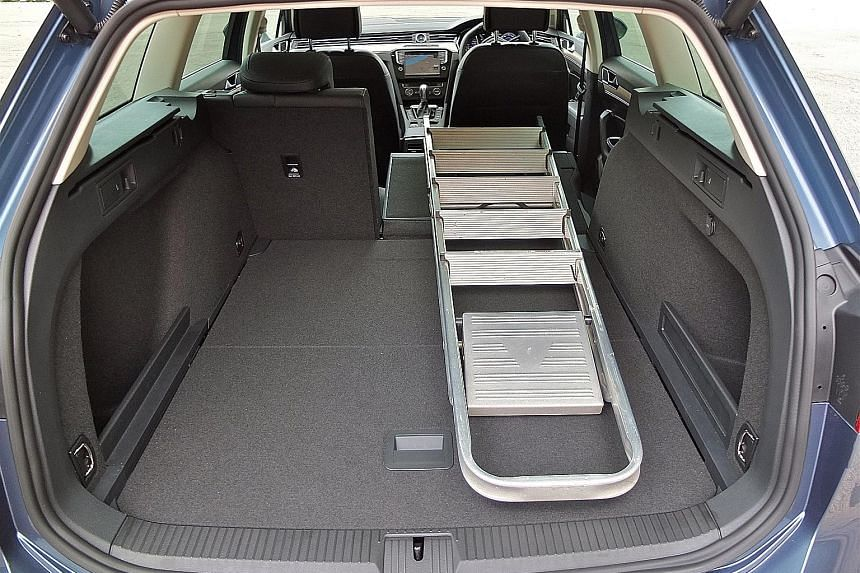 The latest Passat Variant is sleeker and more efficient than its predecessor. The roomy interior can fit a six-step ladder when the rear seats are folded down.