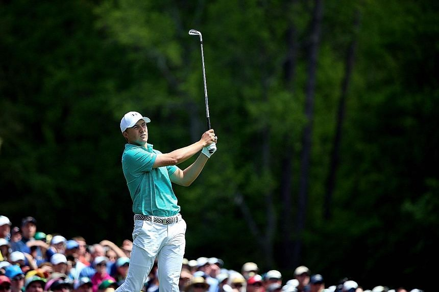 Masters champion Jordan Spieth teeing off at the par-three 12th hole in Thursday's first round. In nine career rounds at Augusta, he has never ended the day over par.