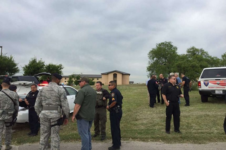 Bexar County Sheriff's deputies are seen inside Lackland Air Force Base in this image tweeted by @BexarCoSheriff in San Antonio, Texas, April 8, 2016.