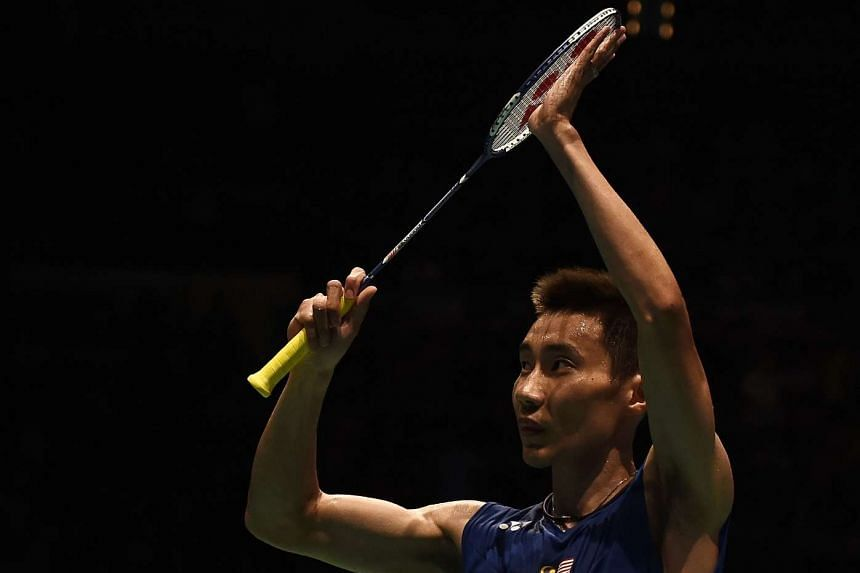 Malaysia's Lee Chong Wei gestures after defeating Viktor Axelsen of Denmark.