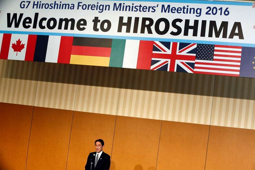 Japan's Foreign Minister Fumio Kishida at the opening ceremony for the G7 Foreign Ministers Meeting in Hiroshima on April 10, 2016.