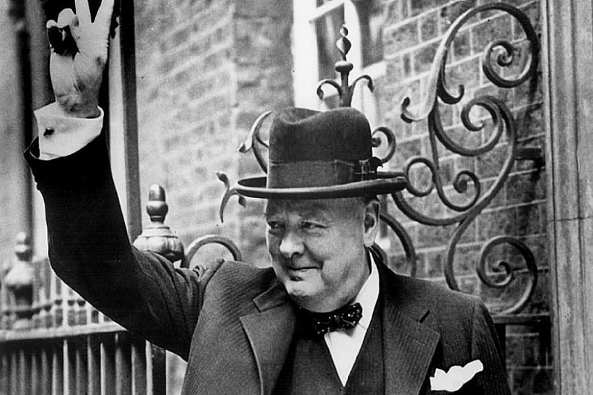 "Churchill giving his ""V"" for victory sign in London in 1943. In some parts of British society, a drama featuring a young Churchill is likely to be greeted with howls of outrage against the ""warmonger"" whose name cannot be mentioned without a grimace"