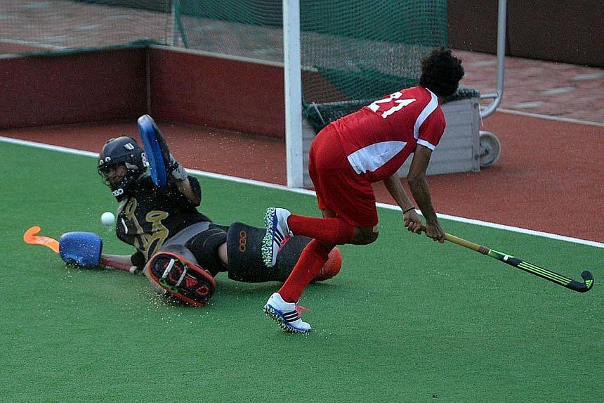 Johari Ahmad Faris scores Singapore's third goal in their resounding 6-0 win over Kazakhstan in the Hockey World League.