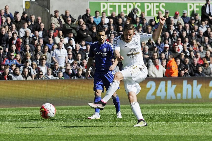 Swansea City midfielder Gylfi Sigurdsson volleying in the opener against Chelsea after 25 minutes. His fourth Premier League goal in five games turned out to be the winner for the Liberty Stadium hosts.