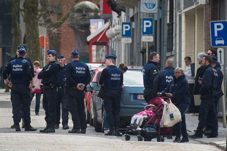 Belgian police during a search in Etterbeek, Brussels, Belgium, April 9, 2016.