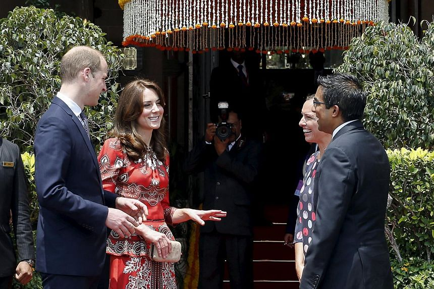Britain's Prince William and his wife Catherine, Duchess of Cambridge at the Taj Mahal Palace hotel in Mumbai, India on April 10, 2016.