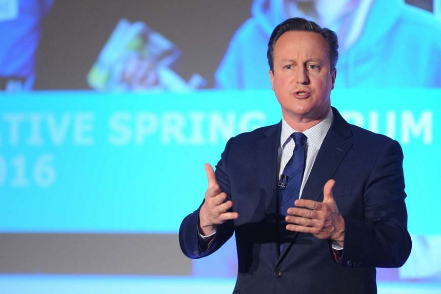 Britain's Prime Minister David Cameron addresses the Conservative Spring Forum in central London, Britain, on April 9, 2016.