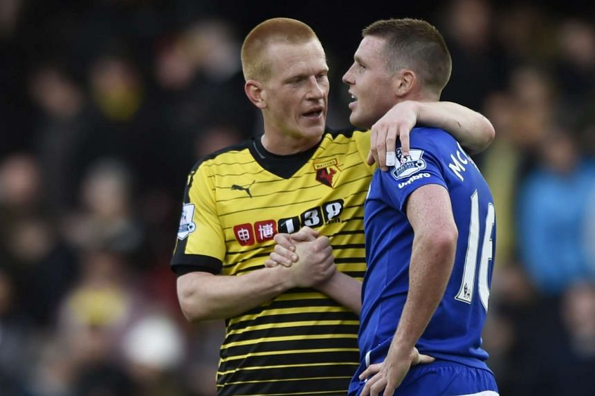 Watford's Ben Watson shakes hands with Everton's James McCarthy after the game.