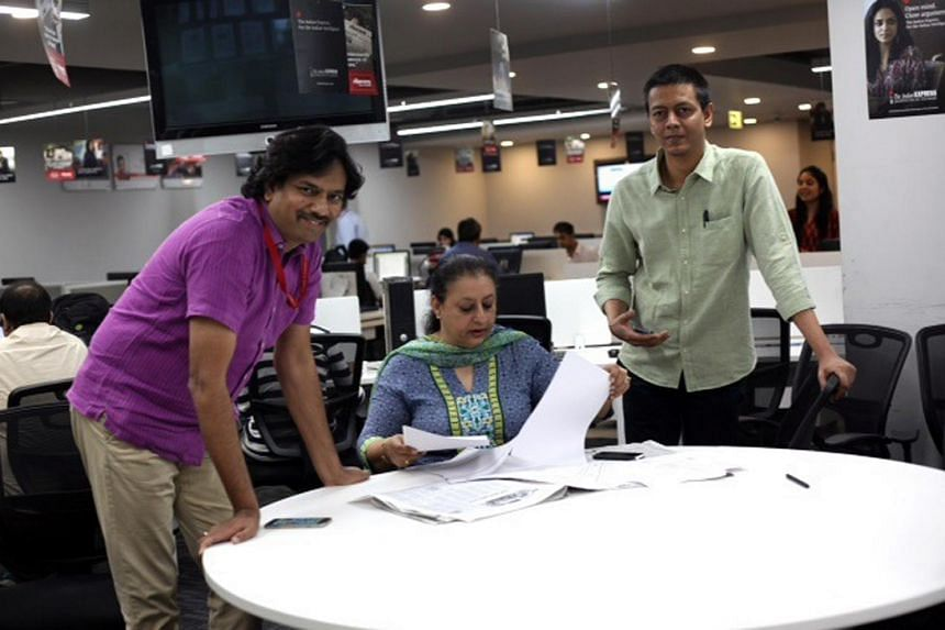 The Indian Express' investigative team included (from left) national affairs editor P. Vaidyanathan Iyer, executive editor (news and investigation) Ritu Sarin and associate editor Jay Mazoomdaar.