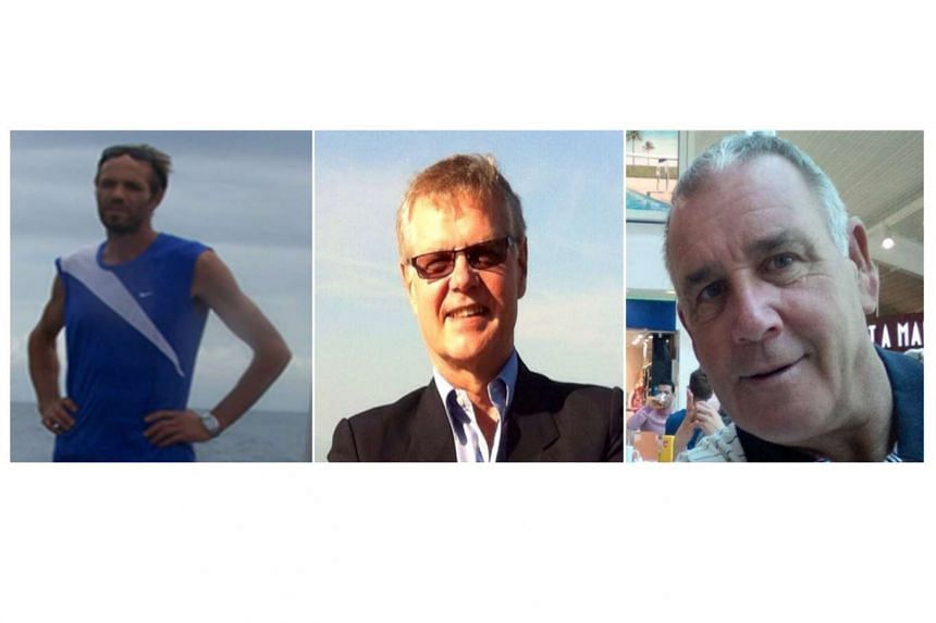 From left: Norwegian employee Kjartan Sekkinstad, with Canadian tourists John Ridsdel and Robert Hall, the three kidnapped foreigners who were seized by gunmen from aboard yachts, on Sept 21, 2015.