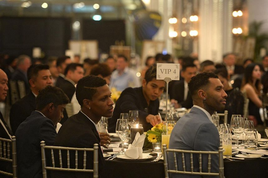(Foreground from left) Tampines Rovers FC players Jordan Webb and Jermaine Pennant pictured at the Pentagon Awards.