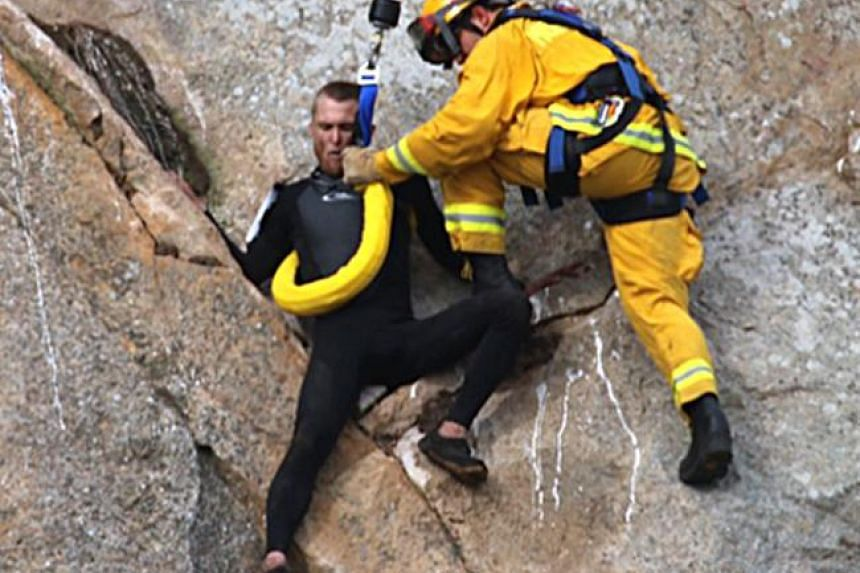Michael Banks got stuck about 25m off the ground during his climb, and had to be rescued by helicopter.