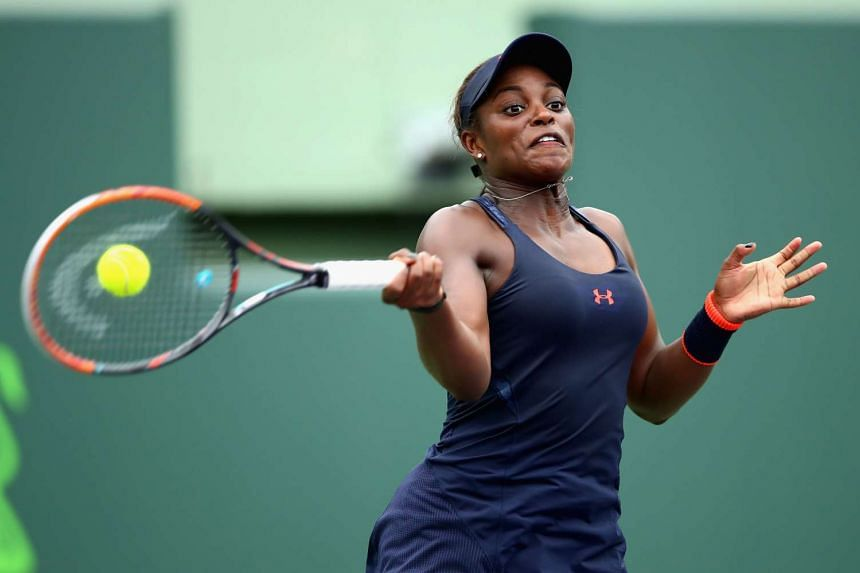 Sloane Stephens of the United States plays a forehand.