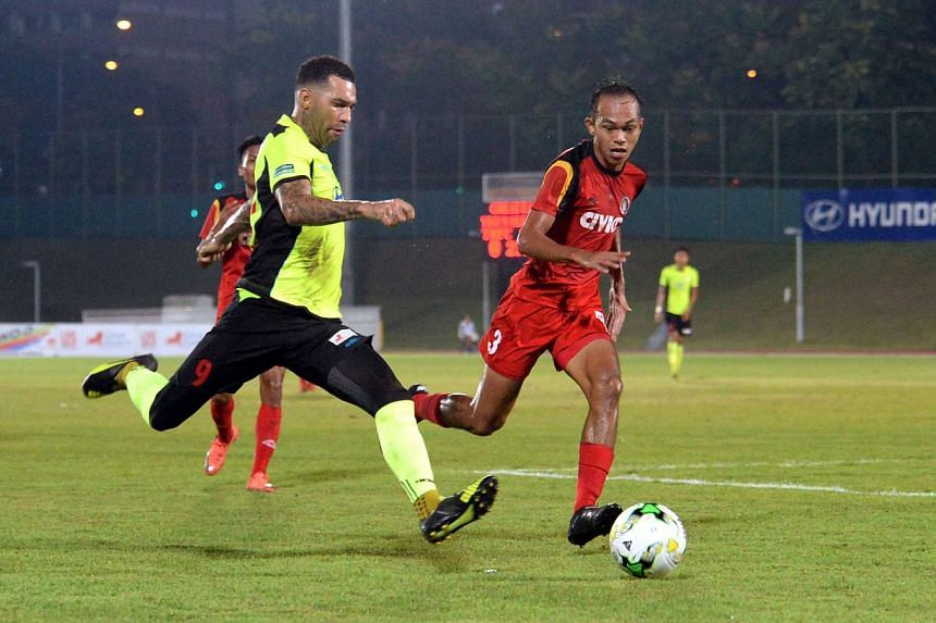 Jermaine Pennant (left) swinging in a cross for Tampines Rovers, in the S-League match between Tampines Rovers and Balestier Khalsa, on April 7.