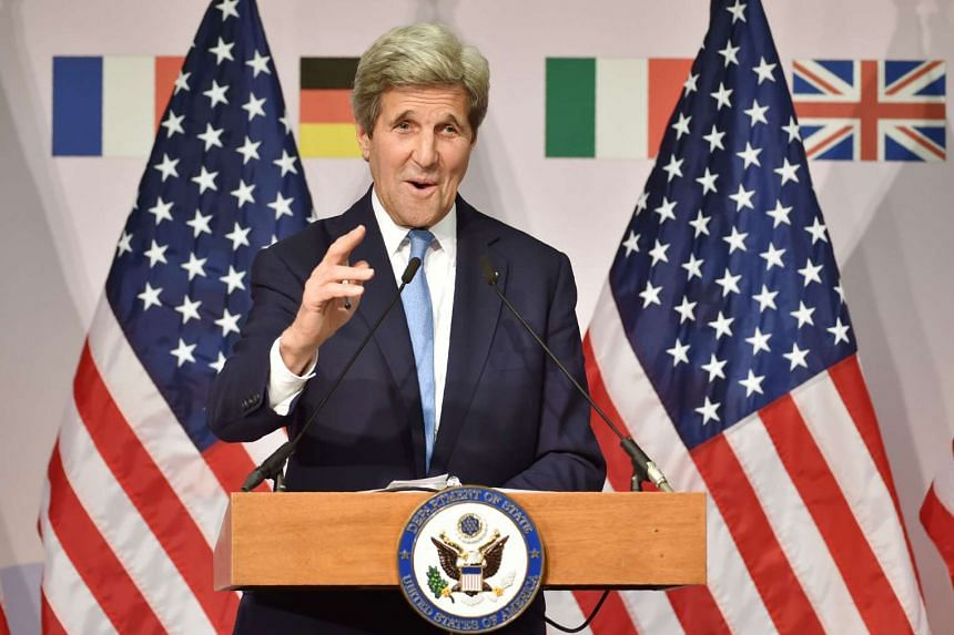 US Secretary of State John Kerry speaks during a press conference following the G7 Foreign Ministers' Meeting in Hiroshima on April 11, 2016.