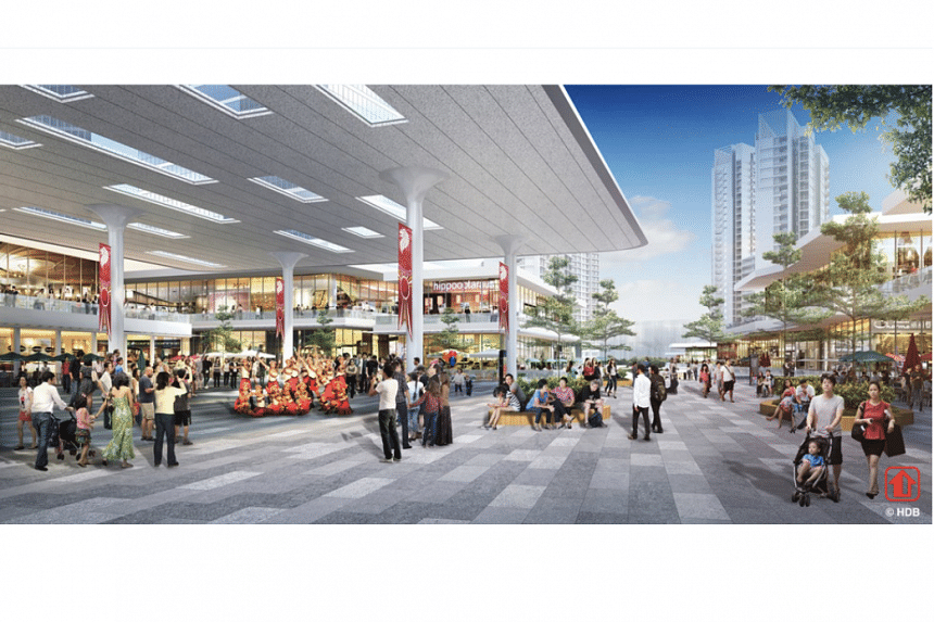 An artist's impression of the new town plaza in Woodlands Central.