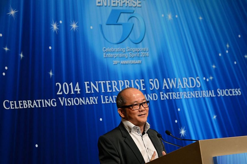 OSIM International founder and chief executive Ron Sim speaking at the launch of the 2014 Enterprise 50 (E50) awards, on April 9, 2014.