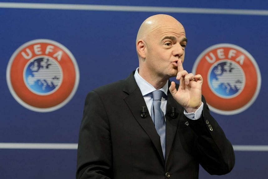 A file picture dated Oct 18, 2015 of then UEFA General Secretary Gianni Infantino, reacts during the draw for the play-off matches for UEFA EURO 2016 at the UEFA Headquarters, in Nyon, Switzerland.