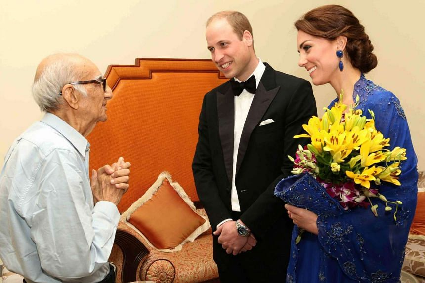 Prince William, Duke of Cambridge and Catherine, Duchess of Cambridge speak with Boman Kohinoor in Mumbai, on April 10, 2016.  His dream to meet them came true after they were made aware of a social media campaign with the hashtag #WillKatMeetMe.