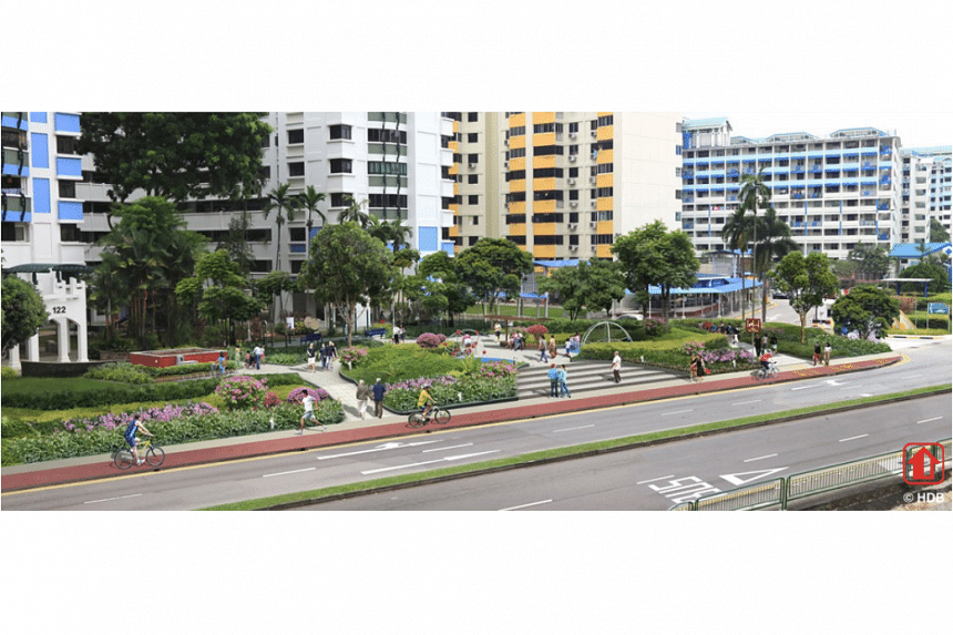 An artist's impression of the enhanced greenery and cycling paths in Toa Payoh.