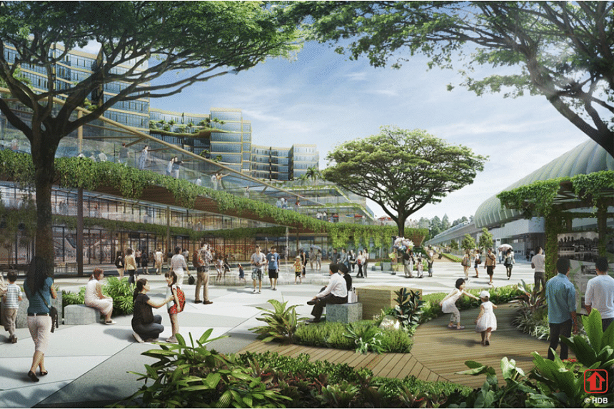 An artist's impression of the new bus interchange in Pasir Ris Town Centre.