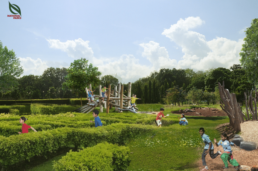 An artist's impression of a rejuvenated Pasir Ris Park, with more spaces for recreational and community activities.