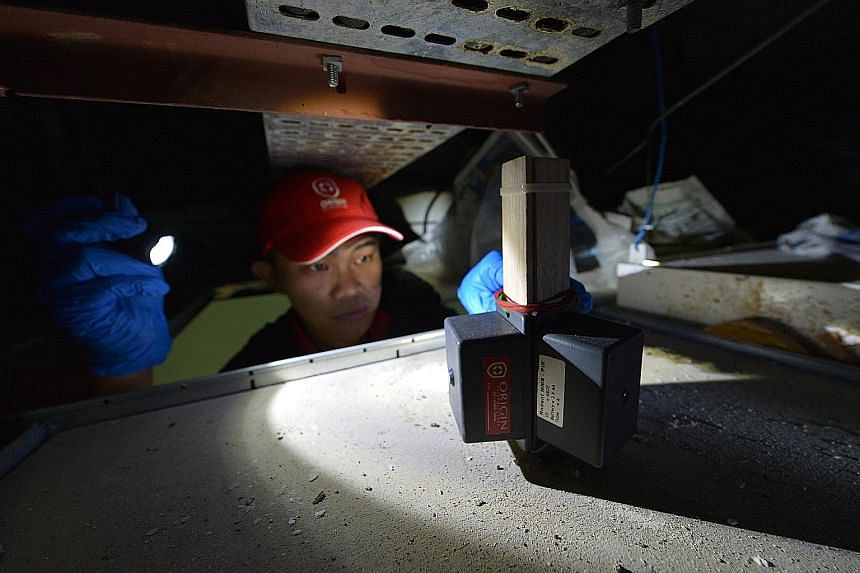 Using data to study rat movements and the rodents' colony is the way forward, experts say. Here, Mr Tan Soon Tat, customer care executive at Origin Exterminators, checks on a Ratsense system deployed in a ceiling space. The technology is designed to