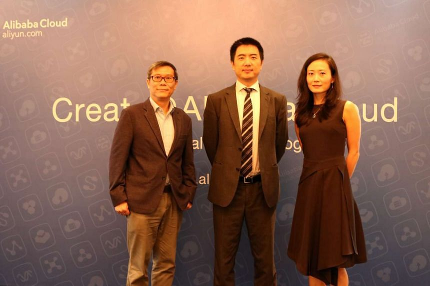 Mr Pang Heng Soon, General Manager of Infocomm Investments, Mr Yu Sicheng, vice president of Alibaba Cloud (centre) and Dr Sun Wenting, chief technology officer of digital marketing start-up Adplus Platform were at the launch of Alibaba Cloud's first